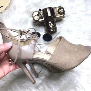 MARC FISHER Taupe Leather Suede Ankle Tie Heels
